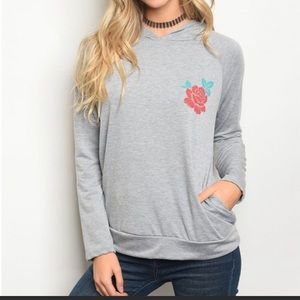 Gray Long Sleeve Rose Pullover